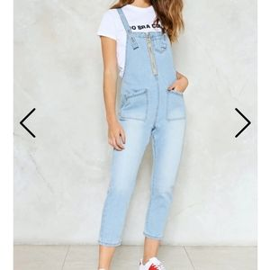 Nasty Gal Light Wash overalls size 2